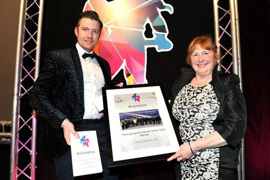 Pictured left to right is David Brown Junior receiving award for Young Business Person of the Year by Cllr Janine Bridges Sentinel Business Awards 2016 at Kings Hall, Stoke Reporter. Matt Simpson Catagory. nws Date. 15.03.16 Time. 7pm onwards