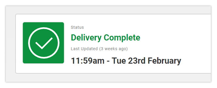 Tracking - Delivery Complete